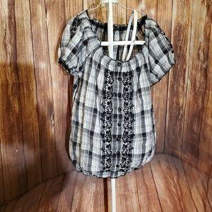 Style & Co Black Plaid Blouse Sz 4